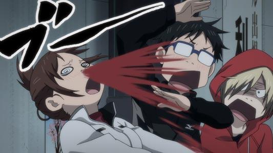 Nishigori Yuuko 西郡優子 having an explosive nosebleed in front of Katsuki Yuuri 勝生勇利, and Yuri Plisetsky, ユーリ・プリセツキー, example of hanadi-buu 鼻血ブー.
