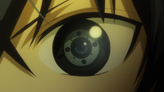 "Satomi Rentarou 里見蓮太郎, who has a ""prosthetic eye,"" gigan 義眼."