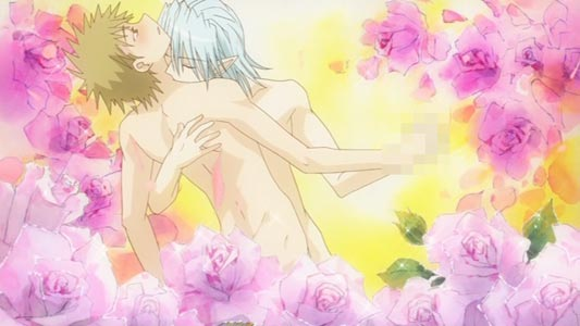 Usui Kenta 雨水健太 and Maaka Ren 真紅煉 apparently having a gay relationship, example of rose background.