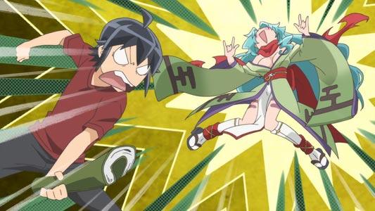 Misumi Makoto 深澄真 hits Tomoe 巴 in a tsukkomi, she does a Rumic hand sign as she flies away.