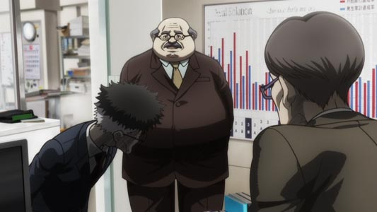Example of salaryman characters in an office.