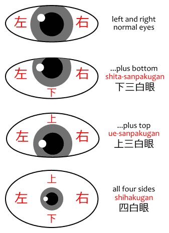 Diagram showing the difference between sanpaku eyes, shita-sanpakugan 下三白眼, ue-sanpakugan 上三白眼, and shihakugan 四白眼.