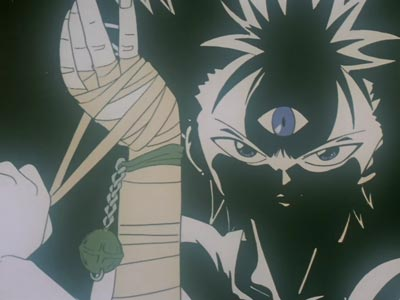 Hiei 飛影, removing his bandages to unseal the power within his arm.