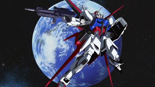"Strike Gundam, ストライクガンダム, doing the iconic ""SEED pose,"" tane poosu 種ポース."