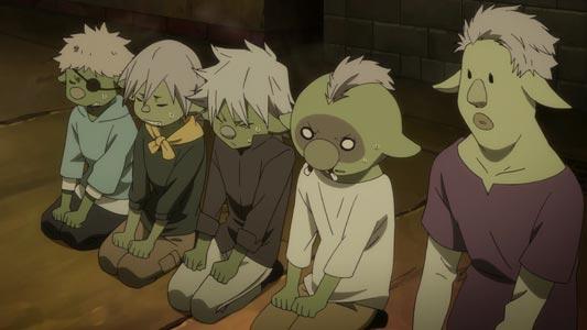 Gobuchi ゴブチ, Gobutsu ゴブツ, Gobuto ゴブト, Gobuta ゴブタ, and Gobuzou ゴブゾウ sitting on their knees, example of seiza 正座.