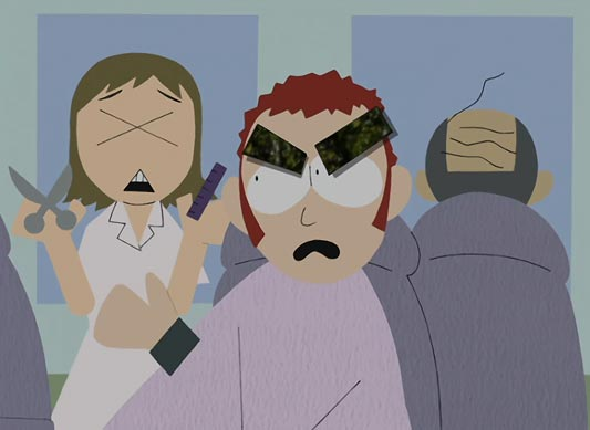 A parody of South Park, example of a single X eye.
