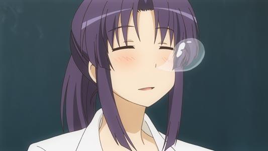 Miyauchi Kazuho 宮内一穂, example of snot bubble.