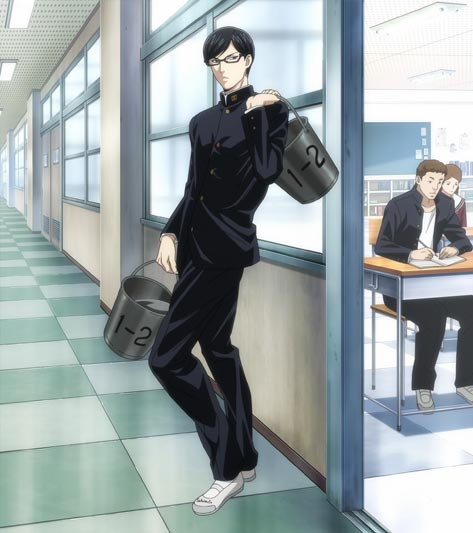 Sakamoto 坂本, example of student being made stand in the hallway holding buckets of water.