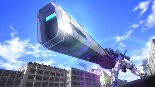 Gundam AGE-3, ガンダムAGE-3, holding the SigMaxiss Rifle, シグマシスライフル, in Sunrise Stance (サンライズ立ち).