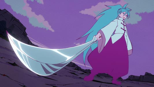 Rin リン holding a sword in Sunrise stance (サインラズ立ち).