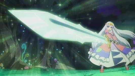 Aurora Suya Rhys Kaymin, オーロラ・栖夜・リース・カイミーン, holding the sword Jingi Ame-no-Murakumo 神器アメノムラクモ in the Sunrise Stance (サンライズ立ち).