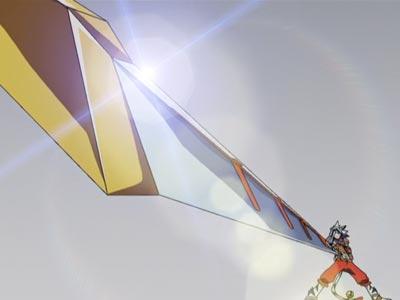 Kogenta コゲンタ holding a sword in Sunrise Stance (サンライズ立ち).