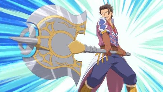 Alan, アラン, holding an axe in Sunrise Stance (サンライズ立ち).