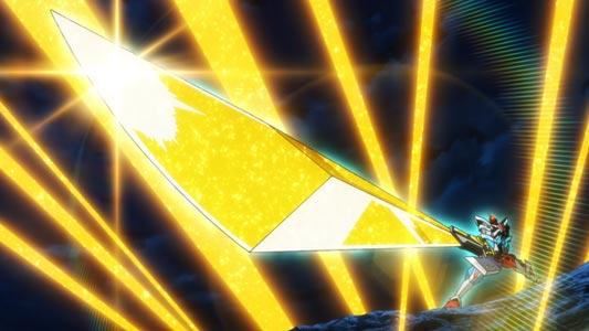 Gridman, グリッドマン, holding the sword Gridman Calibur, グリッドマンキャリバー, in Sunrise Stance (サンライス立ち).