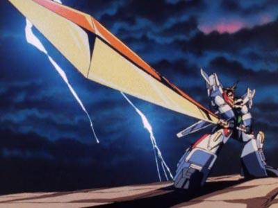 "The ""Super Giant Fusion,"" Chou Kyodai Gattai: Great Exkaiser, 超巨大合体グレートエクスカイザー, holding the Kaiser Sword, カイザーソード, in the iconic Sunrise Stance (サンライズ立ち)."
