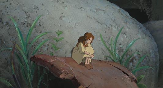 Arrietty, アリエッティ, sitting holding her knees, example of taiiku-zuwari 体育座り.