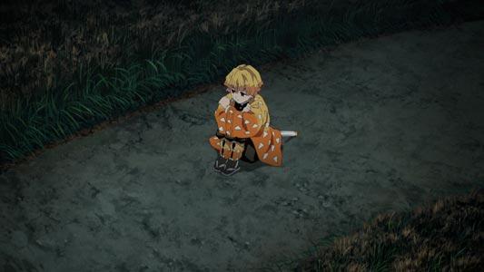 Agatsuma Zen'itsu 我妻善逸, sulking in taiiku-zuwari 体育座り position.