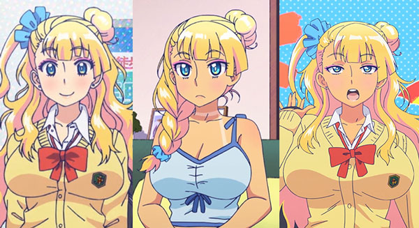Gyaruko ギャル子, untanned in episode 2, tanned after going to a pool in episode 7, and tanned after going to tanning salon in episode 3.