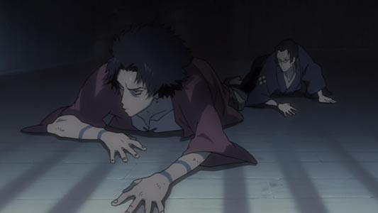 Mugen 無限 and Jin 仁 in a jail cell, the tattoos on Mugen's wrists are bokkei 墨刑, mark tattooed as punishment on a criminal.