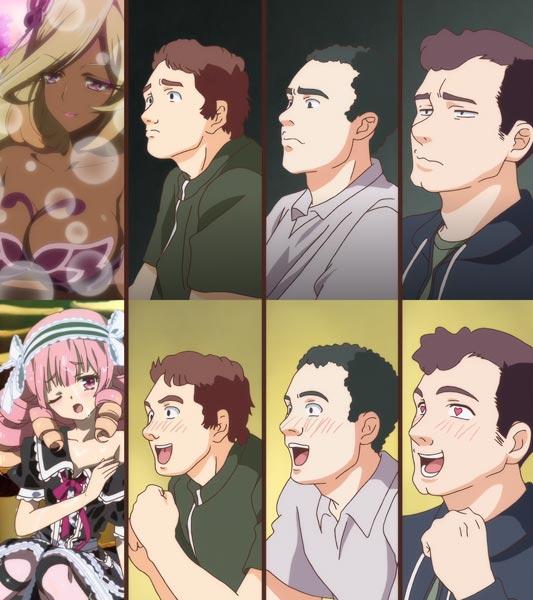 Uzume うずめ (female), versus Veronica Vasilyevna Vonitsky ヴェロニカ・ワシーリエヴナ・ヴォイニーツカヤ (male), in a reference to the reaction guys meme, known in Japan as gaijin yonkoma 外人四コマ.