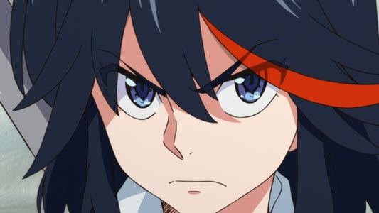 Matoi Ryuuko 纏流子, example of upturned eyes, tsurime ツリ目.