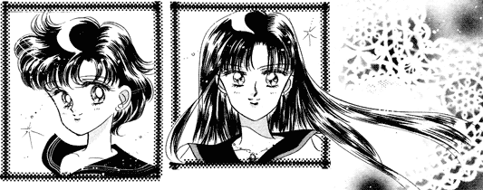 Examples of glossy manga hair drawn using black ink.