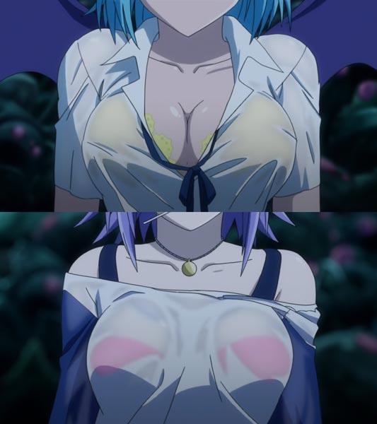 Kurono Kurumu 黒乃胡夢, Shirayuki Mizore 白雪みぞれ, example of wet shirt, sukebura 透けブラ.