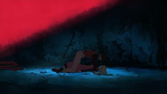 """""""Night,"""" Yoru 夜, Bam, Rachel ラヘル, example of yukadon 床ドン."""