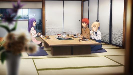 Matou Sakura 間桐桜, Emiya Shirou 衛宮士郎, and Saber セイバー sitting in seiza 正座 position on a type of cushion called zabuton 座布団.